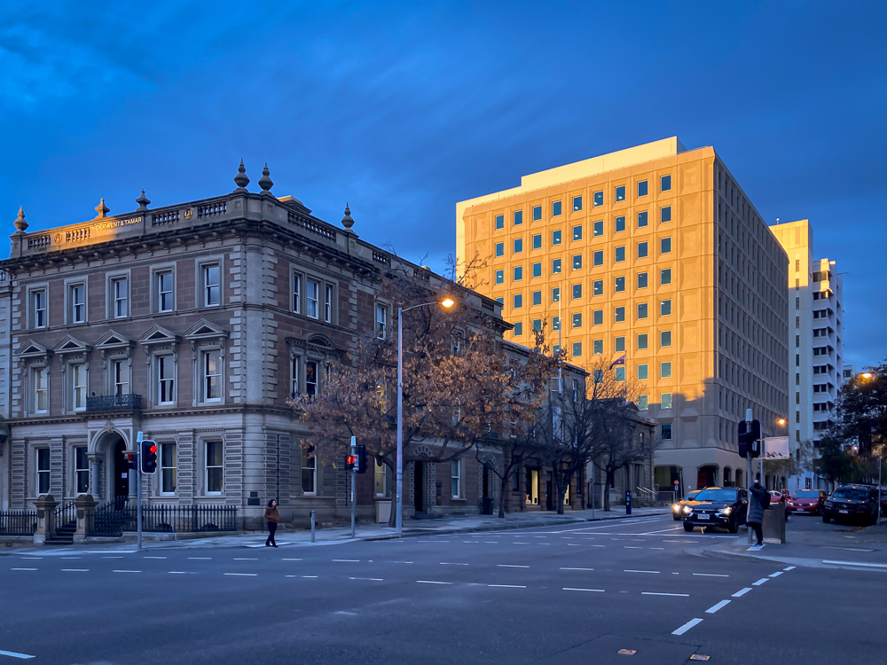 The early morning light on Macquarie Street, Hobart catches the Lands Building
