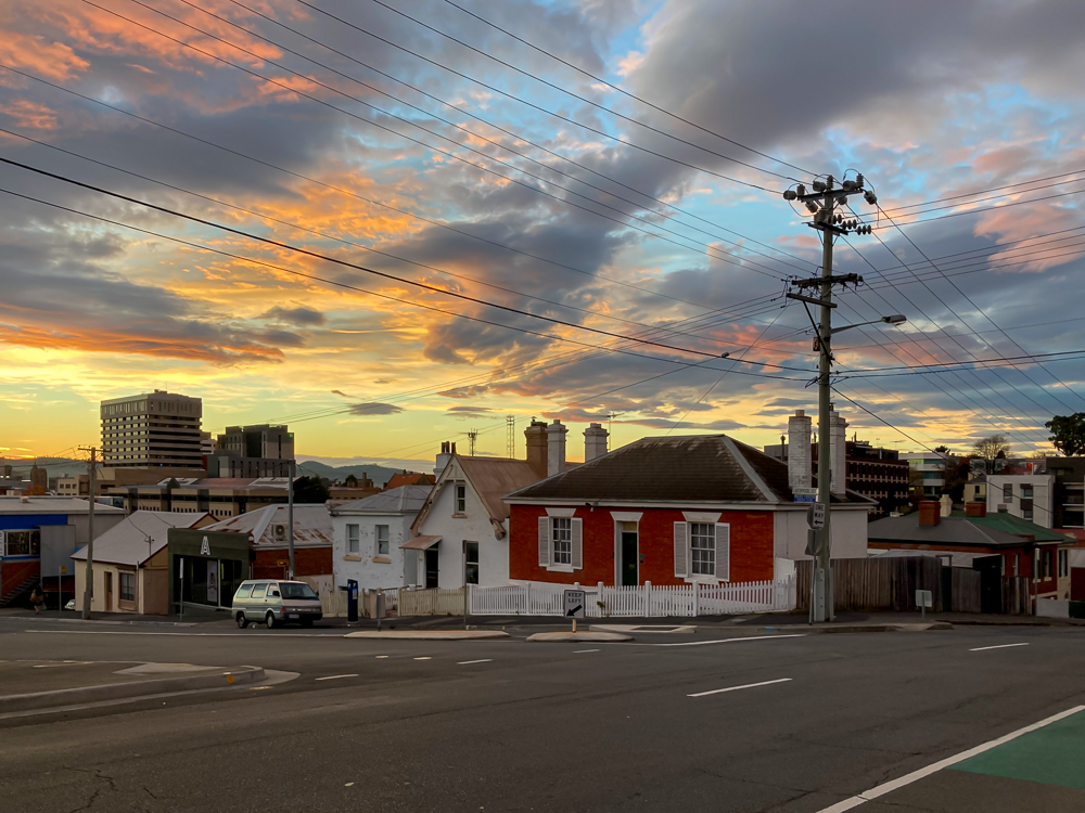 The sunrise as seen from Molle Street Hobart at 7.29 am on Thursday 3 June 2021