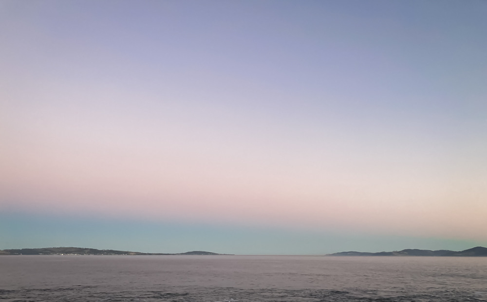 Pastel colours of a beach at sunset