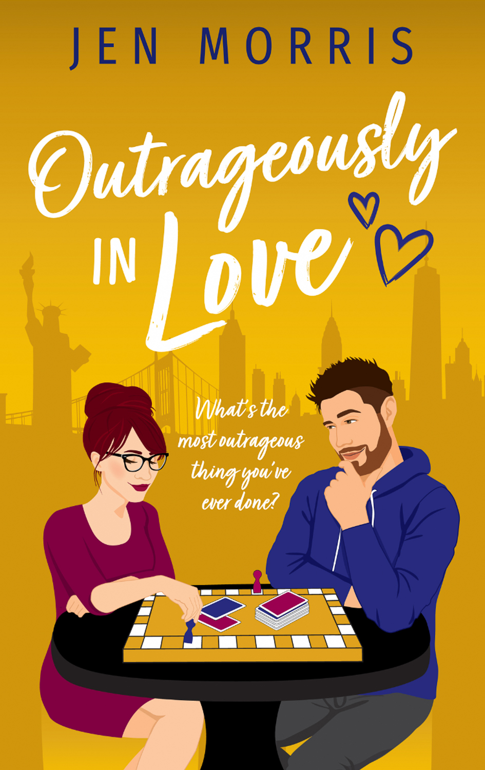 The cover of Outrageously in Love by Jen Morris, a woman and a man seated at a table playing a board game